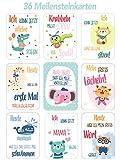 Baby Meilenstein Karten für das 1. Lebensjahr - 36 wunderschöne Karten - Ideal als Geschenk zur Geburt, Schwangerschaft, Taufe - Junge und Mädchen - Milestone Cards Deutsch Meilensteinkarten