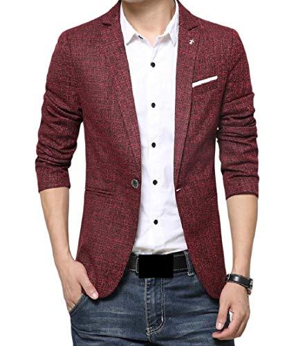 Andopa Herren bequemen business-kerbe revers single button blazer-jacken-anzüge 2XL Rot - Kerbe Revers Single