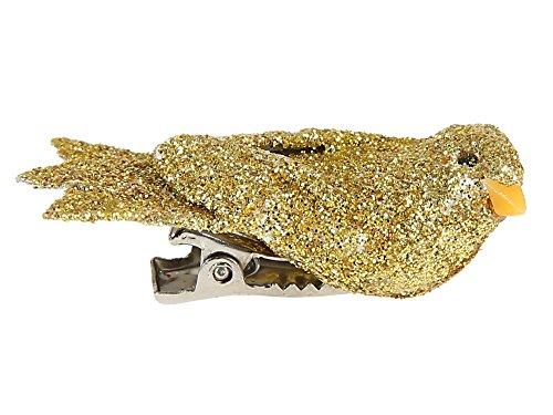 Vogel mit Glitzer auf Klammer, gold, 1,6 x 4 cm, Dekovogel Dekoration