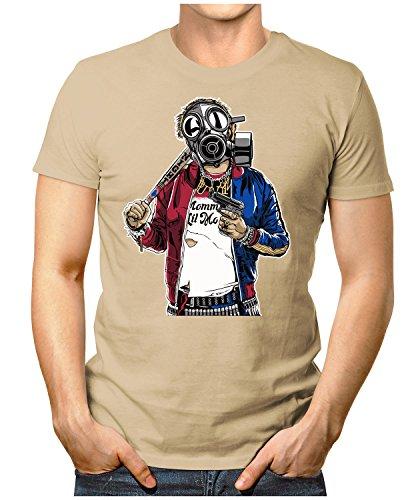 PRILANO Herren Fun T-Shirt - GAS-MASK-REBEL - Small bis 5XL - NEU Khaki