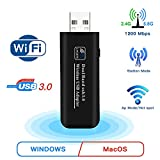JBonest USB 3.0 Mini WiFi Adapter AC1200 Mbps Dual Band 2.4/5.8GHz, Wireless Network