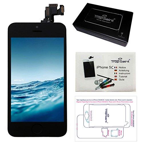 Trop Saint® Kit de Réparation iPhone 5C NOIR + Vitre Tactile Noire + LCD Retina avec chassis prémonté, Camera avant et Bouton Home + outils + Notice