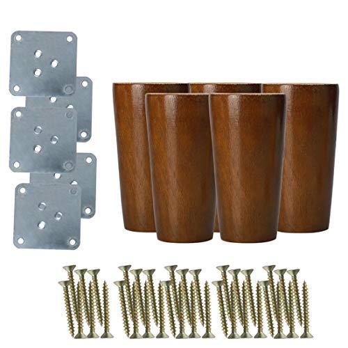 Sourcingmap - Patas redondas de madera maciza para muebles, sofás, sillas, camas,...