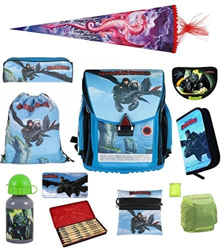 Dragons Schulranzen Set 10tlg Sporttasche Schultüte 85cm Drache Ohnezahn NEU
