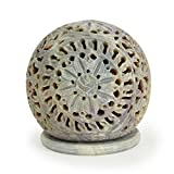 Artist Haat Festive Gifts Beautifully Handmade Engraved Soapstone Tealight Votive Candle Holder 7.62 Cm With Floral Cut-out Design