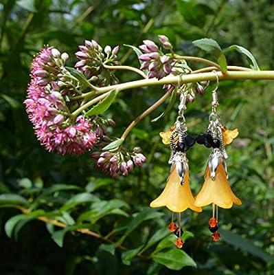"""Boucles d'oreilles""""citrouille féerique"""" avec fleurs orange et noir - bijoux pour Halloween - sorcière - poitron"""