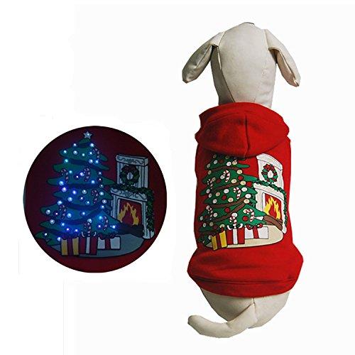 Hunde Für Stitch Kostüm (gzq Pet Hund Kleidung LED Light Up Kostüm Puppy Kitten Hoodie Pullover Katzen Kostüm Weihnachten Urlaub Geschenke Herbst/Winter)