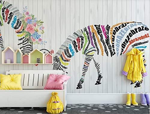 MuralXW Tapeten Wandbild Moderne Tapete Nordic abstrakte englische Zebra Blume Nordic Hintergrund dekorative Malerei-450x300cm -