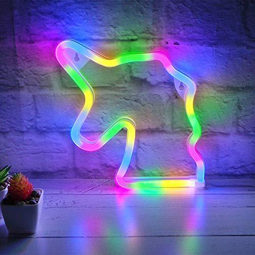 Lámpara de pared con diseño de unicornio con luz LED de neón para el hogar o la habitación del bebé...