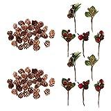 Fenteer 80 pcs Gepresste Blume Verzierungen Trockenblumen getrocknete Blumen Kiefern Kegel für Dekoration DIY Scrapbooking