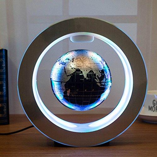 Magnetische Kugeln Globen LED (Schwarz+Blau+Silber) Schwimmende Globe World Kreative Anti Schwerkraft Hightech Wohnkultur Büro Dekoration Business Geburtstag Geschenke,Black (Magnetische Kugeln Blau)