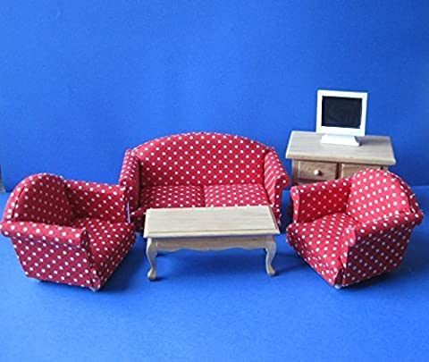 Dolls House 5383 Wohnzimmer rotes Sofa, Sessel 6-teilig 1:12 Puppenhaus (Dresden Sessel)