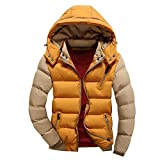 #2: UK XS=Tag M , Yellow : Haodasi Stylish Men's Letter Printed Hooded Thick Down Jacket Warm Cotton Coat Outerwear