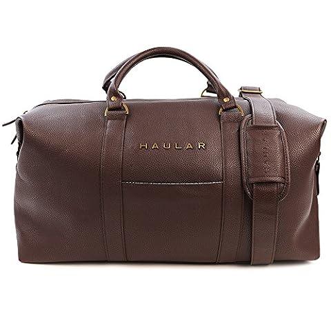 Weekender Bag, Haular Overnight Travel Carry On Duffel Tote Bag [Brass Finishing] - Brown