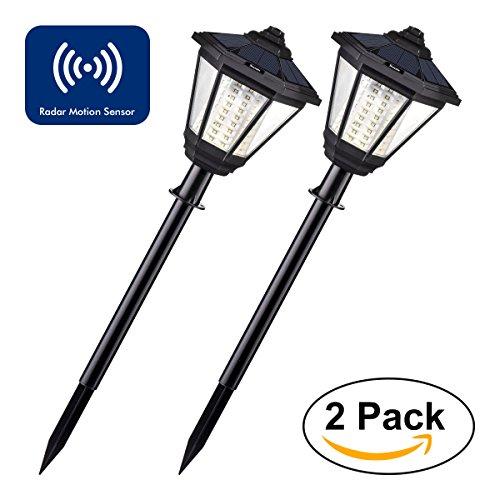 Luces Solares LED Exterior Sunix, Lámpara Solar Retro, 108 LED Sensor de Movimiento y Radar/Apagado Automático Luz de Jardín Impermeable de Montaje en Poste(2 paquetes)