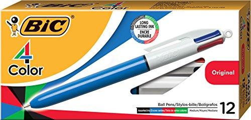 Bic 4 Colours Original Penna a Scatto, Punta Media da 1,0 mm, 4 Colori di Inchiostro, Confezione da 12 Pezzi