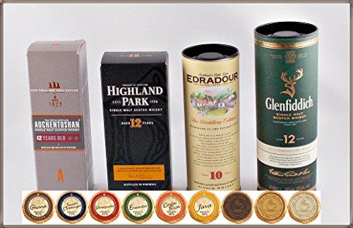 """Set """"Travel of Scotch Whisky"""" - 4 schottische Single Malt Whisky Miniaturen & 9 Edel Schokoladen, kostenloser Versand"""