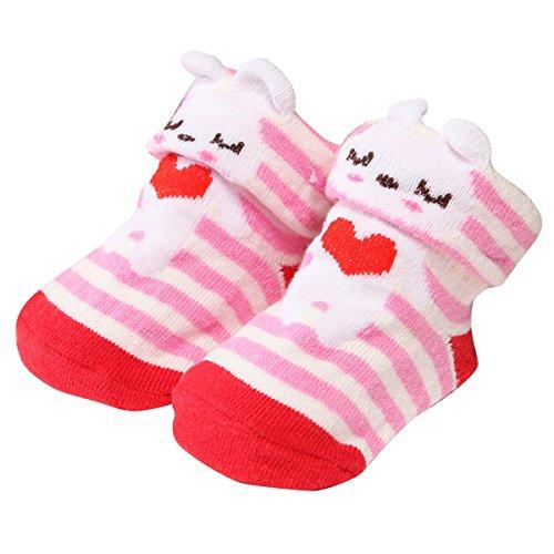 Happy Cherry - Lot de 6 Chaussettes Bébé Enfant Unisexe - Chaussons Mignon Souple - Couleur Aléatoire - Idéal pour 0-6 mois Multicolore