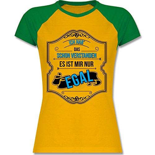 Shirtracer Statement Shirts - Ich HAB Das Schon Verstanden ist Mir Nur Egal - Zweifarbiges Baseballshirt/Raglan T-Shirt für Damen Gelb/Grün