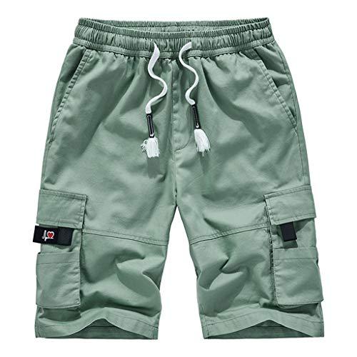 Mymyguoe Herren Cargo Shorts Lose Fit Kurz Hose Sommer Viele Tasche Herren Chino Shorts Bermuda Mit Kordel Aus Regular Fit Cargo Shorts Herren Kurze Hosen Outdoor [Grün,L] -