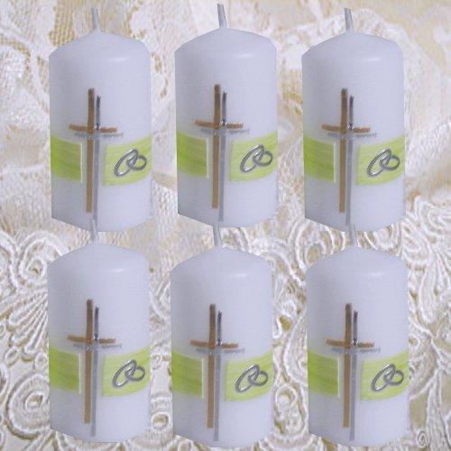 Preisvergleich Produktbild Hochzeitskerze Tischkerze Tischkarten Gastgeschenke zur Hochzeit 6 Stück Gastkerzen SCHLICHT KREUZ RINGE apfelgrün gold silberIH129