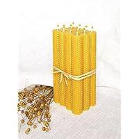 100% Reines Bienenwachskerzen Set 12 Kerzen Größe 20 x 2.5 cm Ökologische kerzen Natürlichen Honigduft 100% Handarbeit