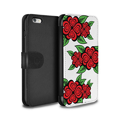 Stuff4 Coque/Etui/Housse Cuir PU Case/Cover pour Apple iPhone 6S+/Plus / Rose/Jaune Design / Roses Coeur Amour Collection Blanc/Rouge