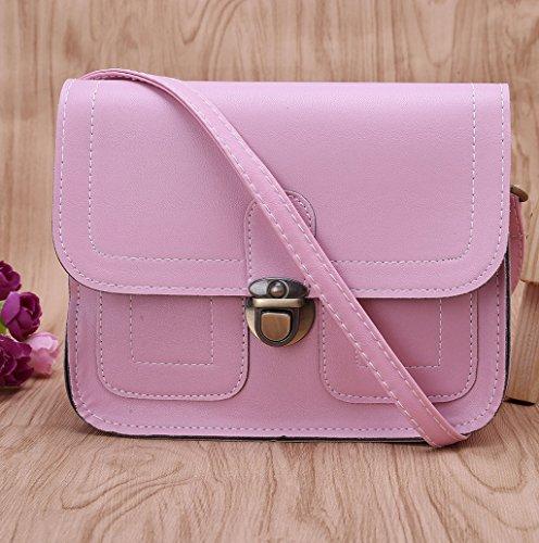 Dairyshop Borsa a tracolla in pelle di cuoio delle donne di modo Borsa del messaggero borsa del hobo Borsa della cartella (Nero) Rosa