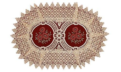 Bestickte Blumen Burgund Gaze Platzdeckchen, Spitze, beige (burgundy gauze), Oval 12*18 inch, Set of 6 -