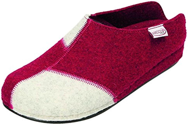MICCOS - Zapatillas de estar por casa para mujer rojo bordo/grau