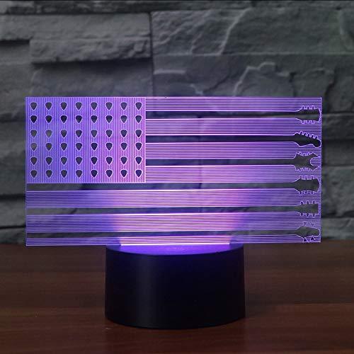 Mzdpp Led Nachttischdekor Nachtlichter Usb 3D Amerika Gitarre Flagge Modellierung Tischlampe 7 Farbwechsel Baby Schlaf S Beleuchtung Geschenke