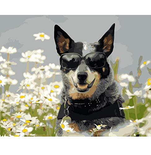 VVNASD Puzzles Rätsel 1000 Teile Für Erwachsene Sonnenbrille Hund In Gänseblümchen Blumen Tier Holz Spielzeug Spaß Spiele Lernen Sie Kreativität Und Problemlösung Kennen