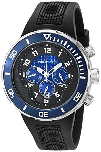 Philip Stein Men's 33-XBL-RB Active Extreme Stainless Steel Watch with Textured Black Band