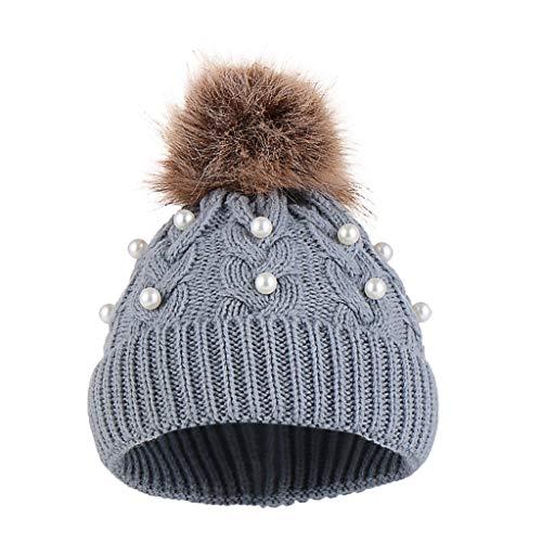 Baby Mädchen Beanie Mütze mit Pompon Hairball Warme Winter-Schädel-Mütze Strickmütze Weiche bequeme Schnee-Ski-Mütze -