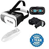 #2: Drumstone 3D Vr Box,Virtual Reality Headset Version 2.0 With Bluetooth Wireless Remote Controller Works with all Android or Iphone Devices (1 Year Warranty, Color May Vary)