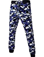 H&E Mens Sport Elastic Wasit Drawstring Camo Cotton Jogger Pants Blue Medium
