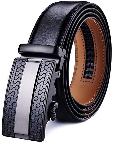 DCFlat Herren-Gürtel, verstellbare Schnalle, Ledergürtel für große und große Männer Gr. X-Large (Länge 125cm Geeignet für 37-43 taille, Black.1) (Gürtel Groß Und Hoch Schnalle Gürtel)