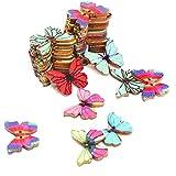Gemischte Holzknopf Schmetterling zwei Löcher Holz Knöpfe Kleidung Deko DIY Basteln Nähen Hase Holz Knöpfe Buttons (Mixed Schmetterling-50Stück)