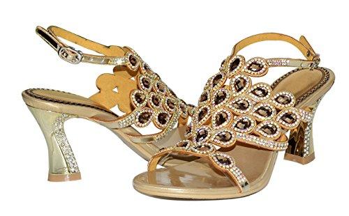 Honeystore Damen's Pfau geformt Pattern Handgemacht Groß Strass Starke Ferse Sandalen Gold
