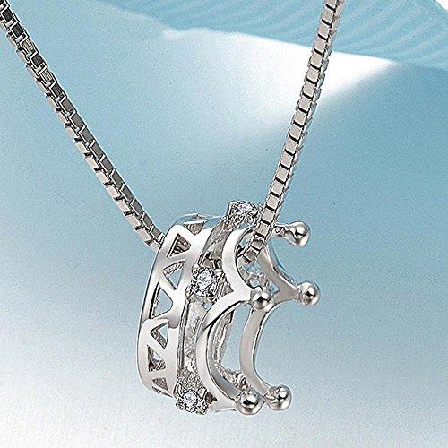 Aoligei Krone 925 Silber Schmuck Halskette Weiblichen Anhänger Schlüsselbein Kette Einfach Geburtstag Geschenk