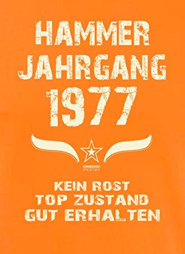 Geschenk zum 40. Geburtstag :-: Geschenkidee Herren Geburtstags T-Shirt mit Jahreszahl :-: Hammer Jahrgang 1977 :-: Geburtstagsgeschenk für Männer :-: Farbe: orange Orange