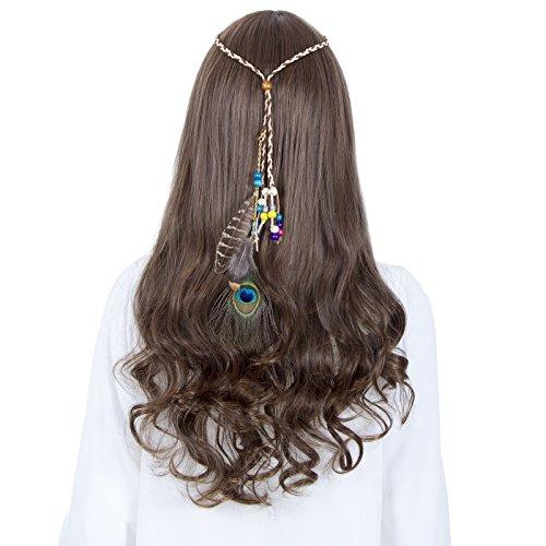 Feder Stirnband Hippie Festival Kopfschmuck Haar Zusätze Boho Mode Zum Frau Mädchen (Pfauenfeder + Farbige (Ganzkörperanzug Farbigen)