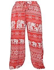 Pantalons Harem Hippie pour femme à imprimé en écharpe à fourrure féminin.