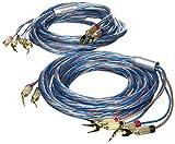 Oehlbach Bi-Tech 4 L 400 | Lautsprecherkabel-Set Bi-Wiring versilbert 2x2,5/2x4,0 mm² mit Kabelschuh-Verbinder | 2 x 4 m - blau/kupfer