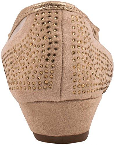Elara Damen Pumps | Bequeme Keil Schuhe | Kleiner Keilabsatz Lederoptik Beige State London