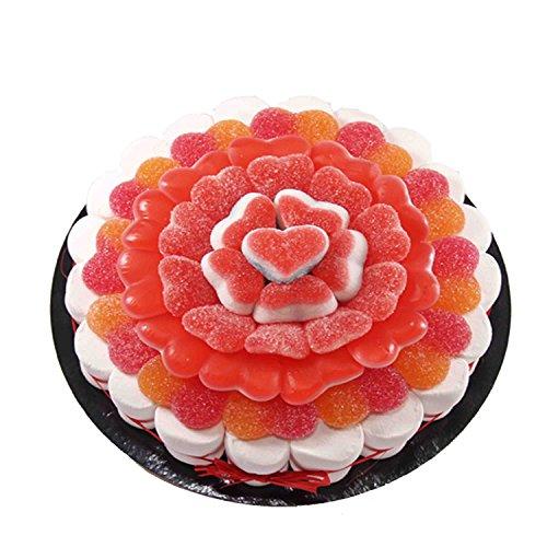 Tarta confeccionada con 450 g de golosinas con forma de flor. Peso neto: 450 g Contiene 59 uds. Golosinas Medidas: diámetro 22 cm. Presentación con caja elegante y retractilado.