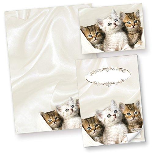 TATMOTIVE Katzen Briefpapier (50 Blatt) Motivpapier A4 90g inkl. 10 Postkarten + Schreibblock