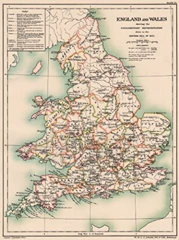 ENGLAND & WALES < 1832. Parliamentary representation pre reform bill - 1902 - old antique vintage map - printed maps of Great