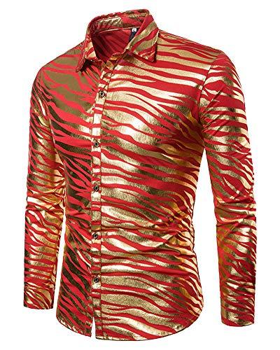 Mengmiao Herren Modelle Zebra Streifen Druck Langarm Revers Hemd Rot L