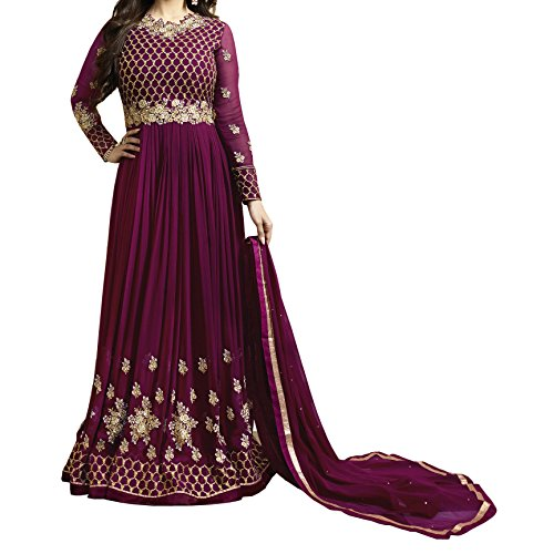 Ethnic Yard Latest Faux Georgette Party Wear Anarkali Salwar Kameez (Purple)